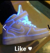 shoes,nike,nike shoes,nike air,nike air force 1,white shoes,glow in the dark,white,hightop,high top sneakers,blue,nike sneakers,high top,sneakers,nike air force,hip hop,dope