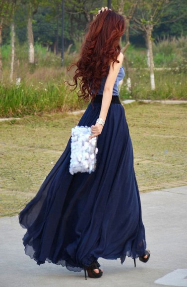 skirt blue skirt red long hair flowy material long skirt, sequin clutch high heels high waisted skirt