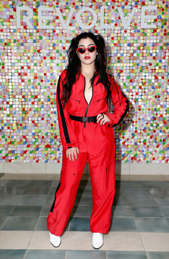 jumpsuit lauren jauregui red pants top jacket sunglasses coachella festival