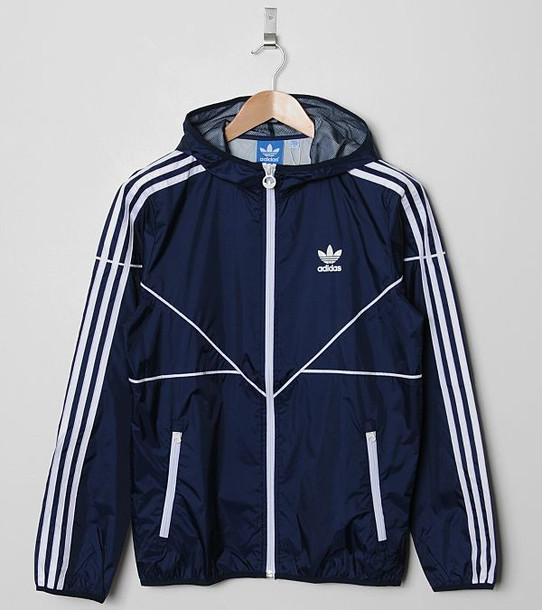 Jacket: navy, adidas, windbreaker - Wheretoget