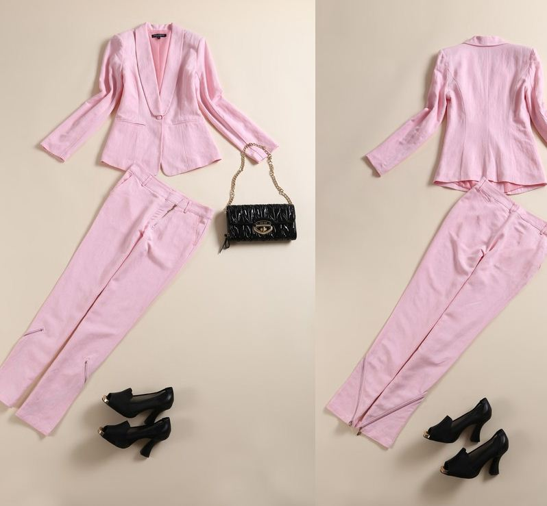 New 2014 spring summer women fashion pink linen blazer   pant slim pant suits clothing set elegant solid color work pansuits-in Blazer & Suits from Apparel & Accessories on Aliexpress.com