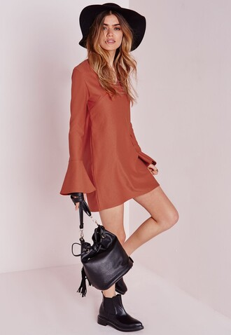 dress bell sleeves 70s style orange dress summer dress