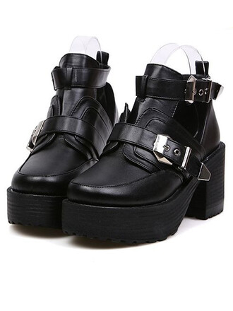 shoes buckle boots platform shoes grunge shoes