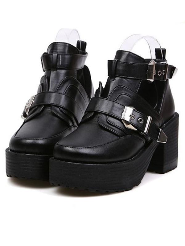 shoes buckle boots platform shoes grunge shoes