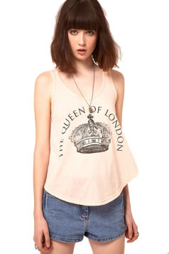 The Queen Of London Printed Ladies Tank Top  - Shopping  Online From PINK QUEEN -Page 1
