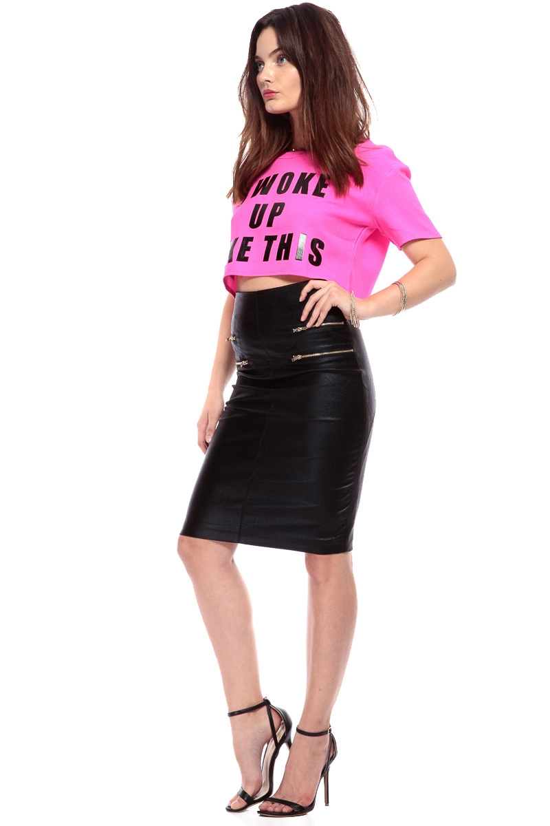Fuchsia i woke up like this crop top cicihot top shirt for Best dress shirts online