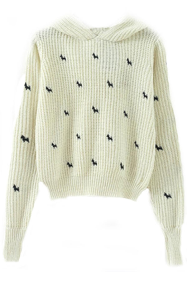 Dog Silhouette Print Cropped Pullover - OASAP.com