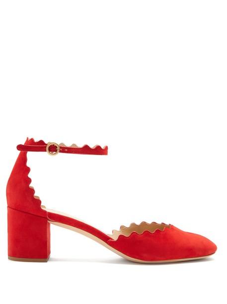 Chloe suede pumps pumps suede red shoes