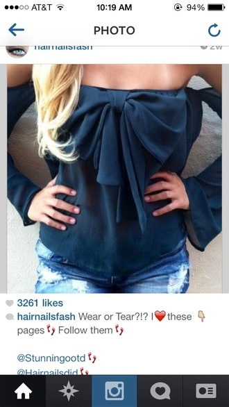 blouse navy bows off the shoulder cute chic