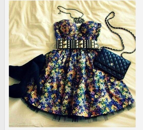 navy dress dress cute floral short flowy bubbled pick up dress bag