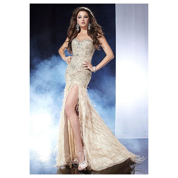 Panoply Chiffon Mermaid Dress 14540 with Feathers