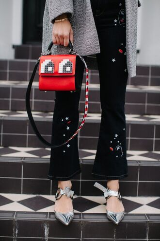 jeans tumblr black jeans flare jeans embellished embroidered embroidered jeans bag red bag handbag shoes silver shoes pointed toe pointed toe flats flats