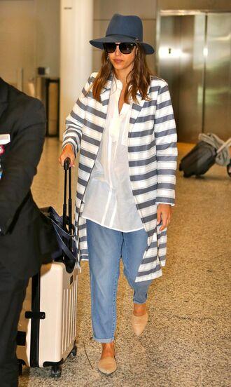 blouse top jeans jessica alba flats jacket hat sunglasses