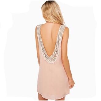 dress round neck thick round neck wide round neck white ruffles ruffle bandeau bikini backless dress