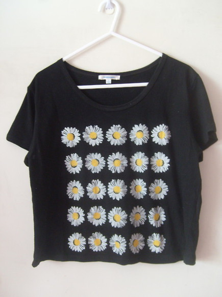 cropped crop shirt yellow daisy daisies daisy shirt daisies shirt