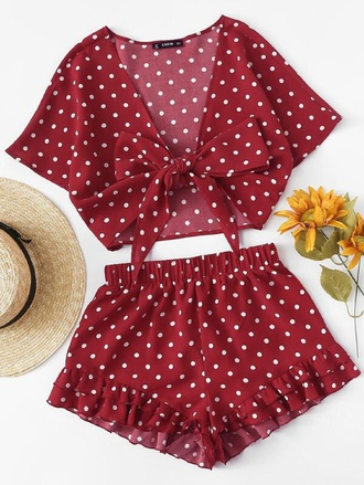 romper girly red white polka dots crop tops cropped crop shorts two-piece cute matching set