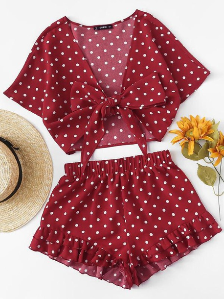 df3c95cf420 romper girly red white polka dots crop tops cropped crop shorts two-piece  cute matching
