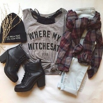 top grey t-shirt grey top witches black top fashion style black shoes shoes boots little black boots