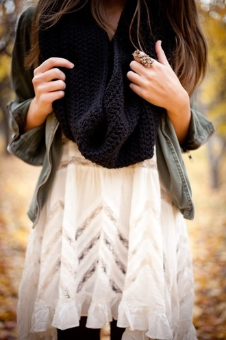 dress boho white white dress black scarf black acessories girl jacket grey jacket scarf fall outfits mufflers flower ring lace dress denim jacket vintage cardigan pattern autumn/winter