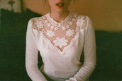 shirt,white,vintage,blouse,crochet crop top,crochet,white crop tops,lace wedding dress,lace top wedding dress,lace bustier,summer dress,vogue crop tops,white sweater,top,clothes,retro,marriage,details,wool,old fashioned,pretty,cute,cream,white top