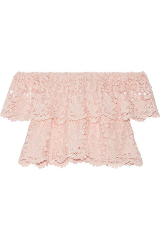 top lace top pastel layered lace cotton pink pastel pink