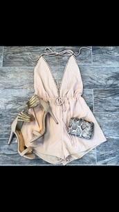 jumpsuit,beige,overalls,fashion,dress,beige dress,beige high heels,shoes,prom dress,summer dress,summer shoes,pink,peach,romper
