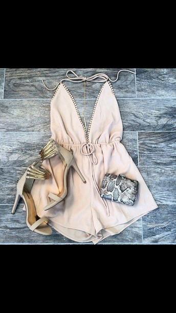 jumpsuit beige overalls fashion dress beige dress beige high heels shoes prom dress summer dress summer shoes pink peach romper