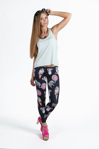 leggings printed leggings black leggings unicorn unicorn print sexy leggings fusion donut girl white top top