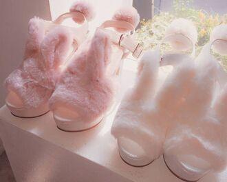 shoes kawaii faux fur fluffy pastel