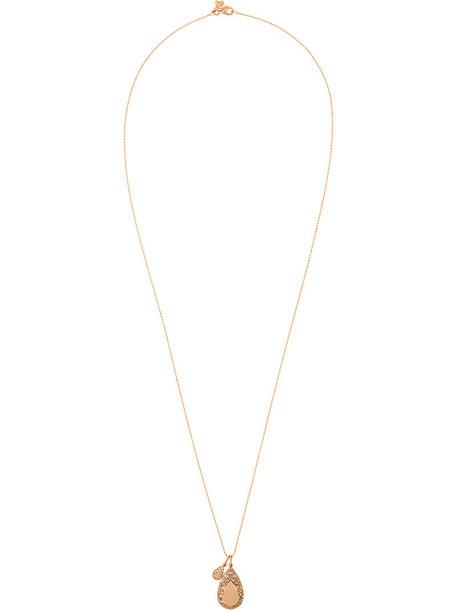 Carolina Bucci mini rose gold rose women opal necklace pendant gold grey metallic jewels