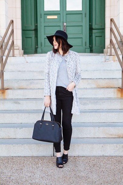kendi everyday blogger jacket peep toe handbag floppy hat sweater top jeans bag hat jewels