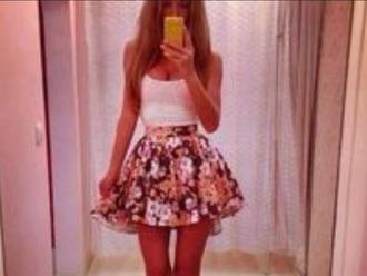 skirt floral skirt skater skirt puffy skirt