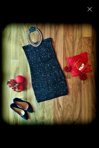 dress heels high heels necklace chanel chain mini dress party party dress glitter glitter dress black dress outfit party outfits evening dress short dress strapless