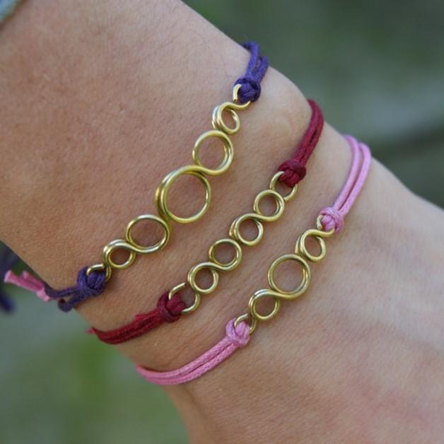 Braccialetti dell'amicizia - 3 pcs - friendship brass bracelets - un prodotto unico di She-Bijou su DaWanda