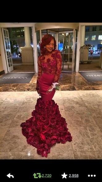 dress burgundy dress lace dress prom dress