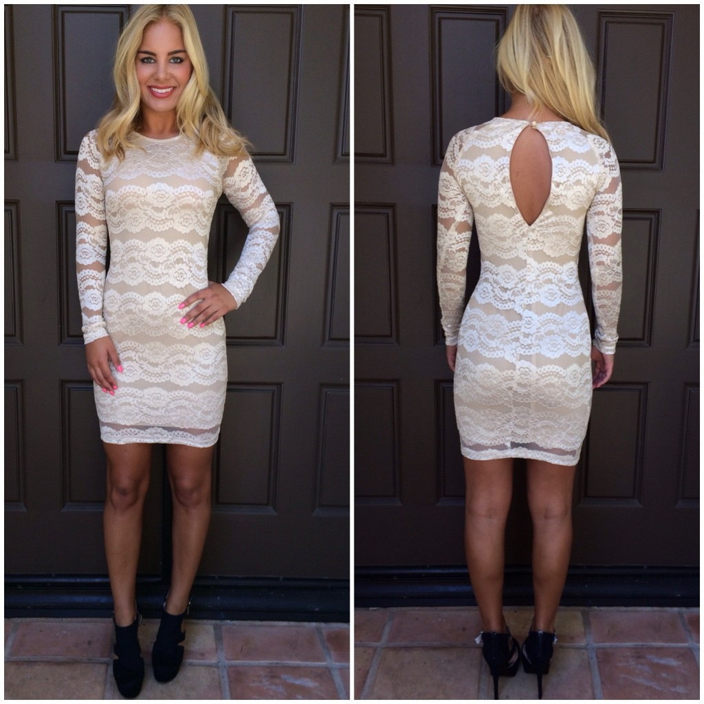 Cream Floral Lace Long Sleeve Bodycon Dress
