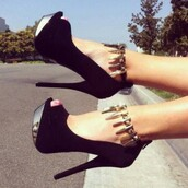 shoes,black,high heels,party,black high heels,platform shoes,shiny,platform heels,edgy,black booties,rockin it,silver,nice,heels,high,charlotte russe,ankle gold,gold,badass,chic,fashion,suede,belt