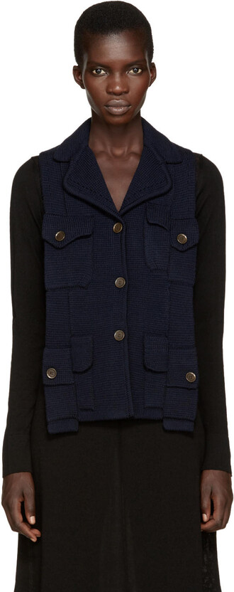 vest backless navy jacket