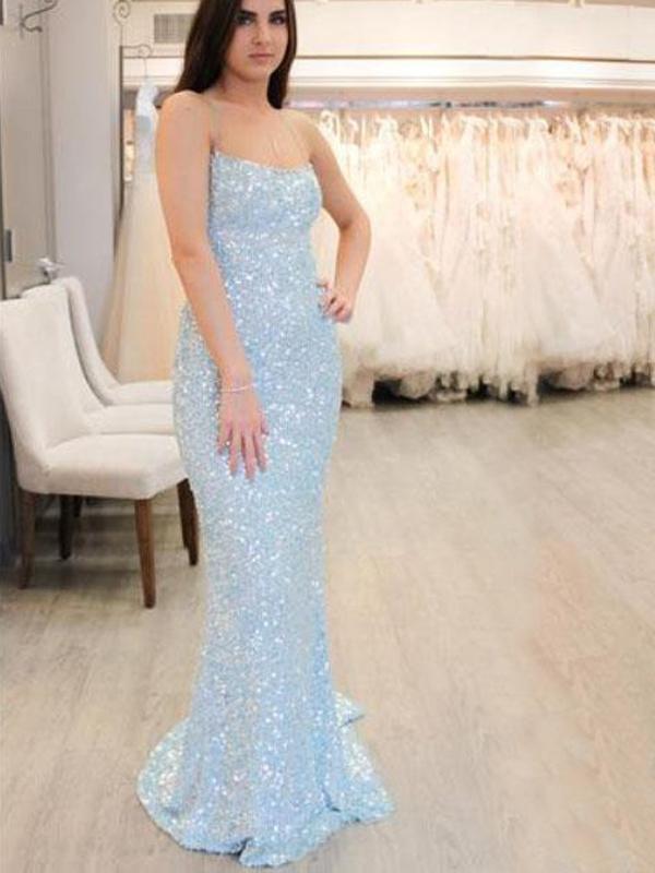 Pale Blue Sequin Spaghetti Strap Mermaid Backless Prom Dresses,PB1079