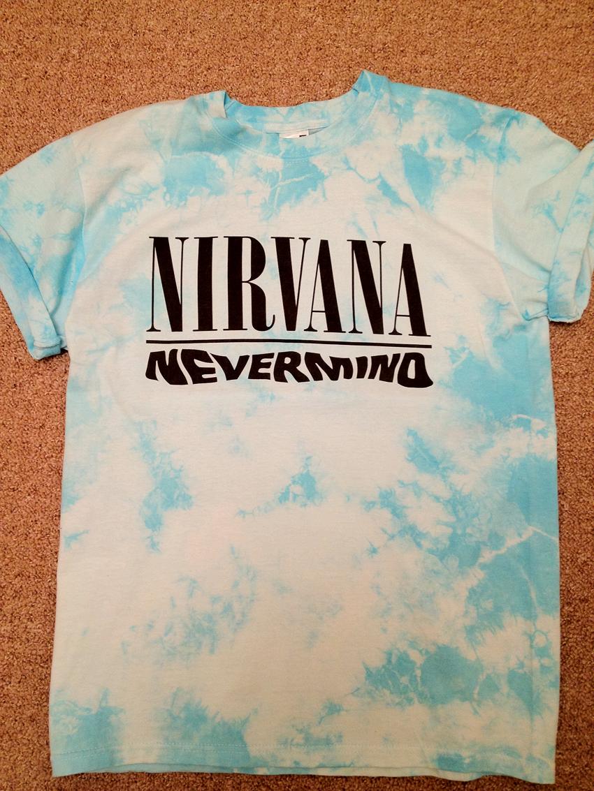 NIRVANA NEVERMIND T SHIRT - BLUE ACID WASH/TIE DYE STYLE - ALL SIZES! | eBay