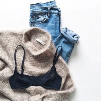 sweater knit brown beige turtleneck wool yarn knitted sweater jumper knit jumper bra black bra black cup bra jeans blue worn outfit neutral fuzzy sweater