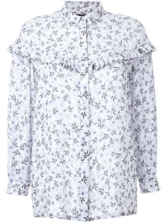 shirt floral print white top