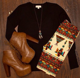 leggings tribal pattern tribal leggings sweater jeffrey campbell lita platform shoes fall outfits