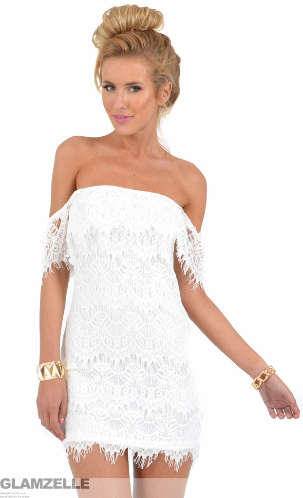 Laces crochet open shoulders dress – glamzelle