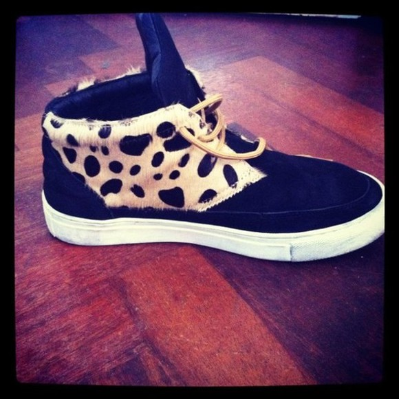 shoes black lace up suede leopard cheetah fur sneakers