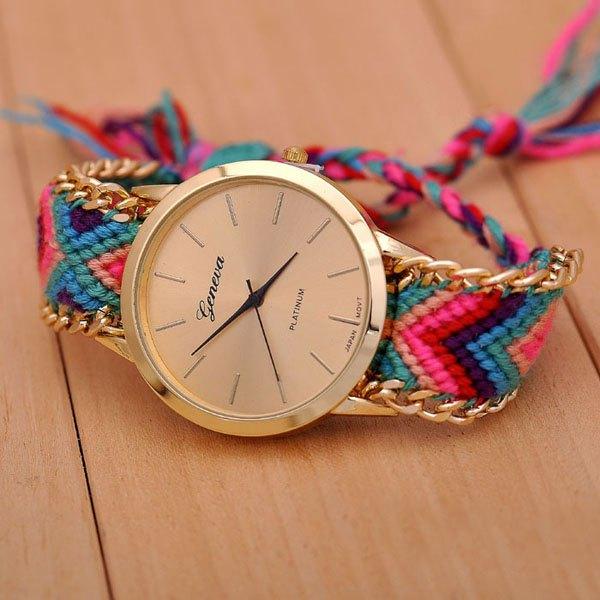 Geneva weaving draw cord round dial leisure watch