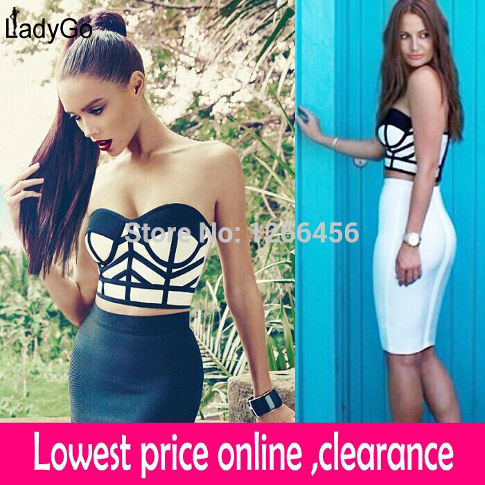 Aliexpress.com : Buy LADY GO 2014 Rayon Strapless Sexy 2 Piece Set Black And White Mixed Color Pencil Bandage Dress Celebrity Dresses HL061 from Reliable dress full suppliers on Lady Go Fashion Shop