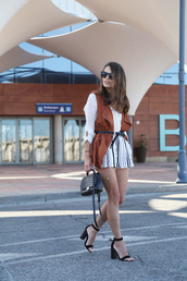 seams for a desire,blogger,jacket,shirt,shorts,shoes,bag,long sleeves,white top,button up,black and white,black bag,sleeveless,waist belt,thick heel,sandals
