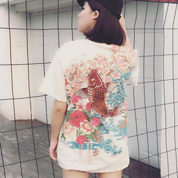 Shirt Embroidered Sakura Koi Fish Japanese Embroidery