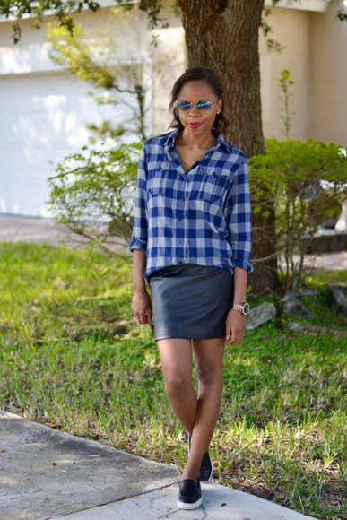 blogger jewels vans cha cha the fashion genius sunglasses flannel shirt leather skirt